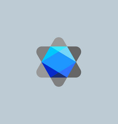 Abstract faceted gem diamond crystal logo icon vector