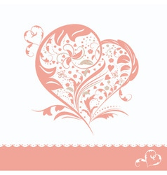 abstract pink flower heart shape wedding invitatio vector image