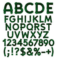 Alphabet letters numbers from green cloth tartan vector