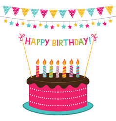 birthday card with a cake and decoration vector image vector image