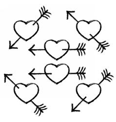 Black Textured Heart Pierced Arrow vector