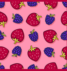 blackberry and strawbeerry seamless pattern vector image