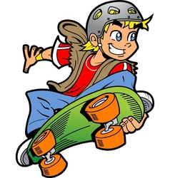 Boy Doing Skateboard Jump vector