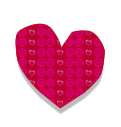 burgundy heart sticker with little hearts and vector image