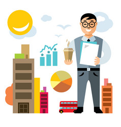 Business man with coffee flat style vector