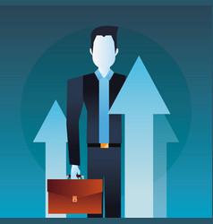 businessman holding business briefcase arrow vector image