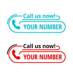 Call us now - template for phone block vector