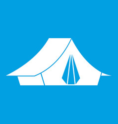 Camping tent icon white vector
