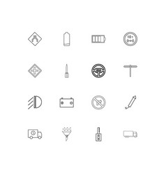Cars and transportation linear thin icons set vector