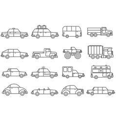 Cars Line Icons Set vector image