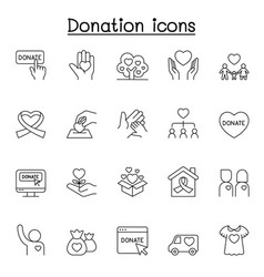 Charity donation icons set in thin line style vector