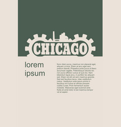 chicago word build in gear vector image