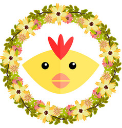 Chicken and floral wreath vector