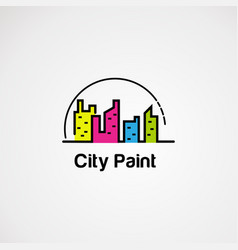 city color with circle dot logo icon element and vector image