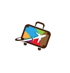 Colorful suitcase travel airplane symbol logo vector