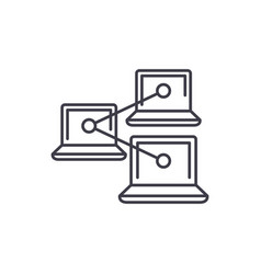 computer work network line icon concept computer vector image