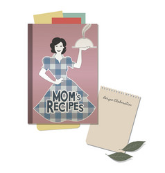 Cookbook retro cover with moms recipes note hand vector
