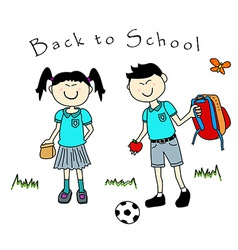 Couple of asian kids goind back to school vector