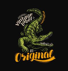 crocodile t-shirt design vintage poster vector image