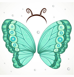 Cute butterfly wings and hoop with antennae on a vector