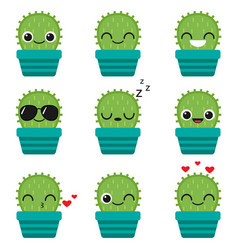 cute happy cactus in blue pot vector image