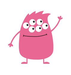 Cute pink monster icon happy halloween cartoon vector