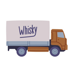 Delivery truck carrying whiskey bottles in package vector