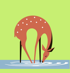 Doe at a watering place vector
