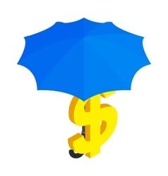 Dollar under umbrella icon isometric 3d style vector image