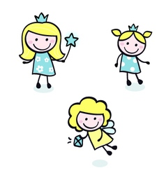 Doodle princess collection vector
