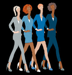 Drawing striding young business women in vector