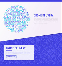 Drone delivery concept in circle vector