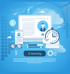 e-learning education online concept web banner vector image