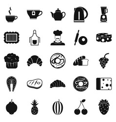 Edible icons set simple style vector