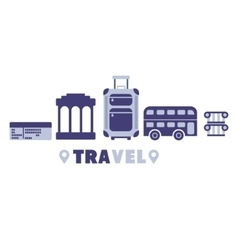 European Vacation Travel Symbols Set By Five In vector