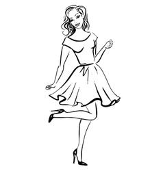 fashion sketch happy woman vector image