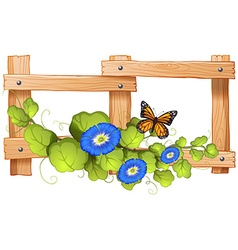 Fence design with plant and butterfly vector