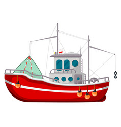 fishing boat icon industrial water transport vector image