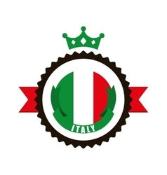 flag and seal stamp icon Italy culture design vector image