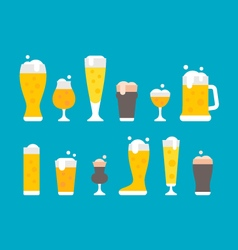 Flat design beer glasses set vector image