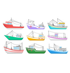 Flat set of colorful fishing boats water vector