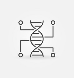 Genetic testing line icon dna outline vector