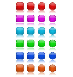 glass buttons set collection of colored 3d icons vector image