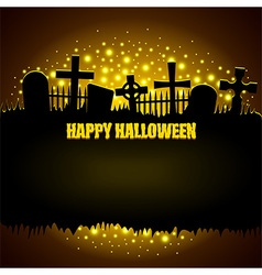 Glowing graveyard Halloween background vector