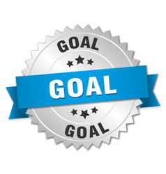 Goal 3d silver badge with blue ribbon vector