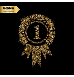 Gold glitter icon of trophy medal isolated vector image