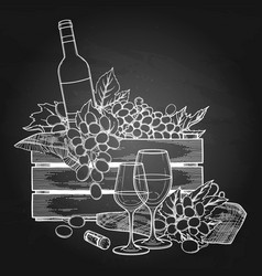 graphic box of bottle and grapes wine glasses vector image