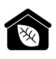 Greenhouse solid icon house and a plant vector