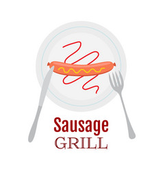 Grilled sausage on plate with ketchup mustard vector