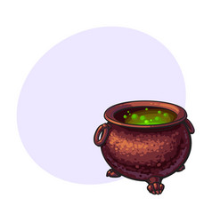 halloween cauldron with boiling green potion vector image